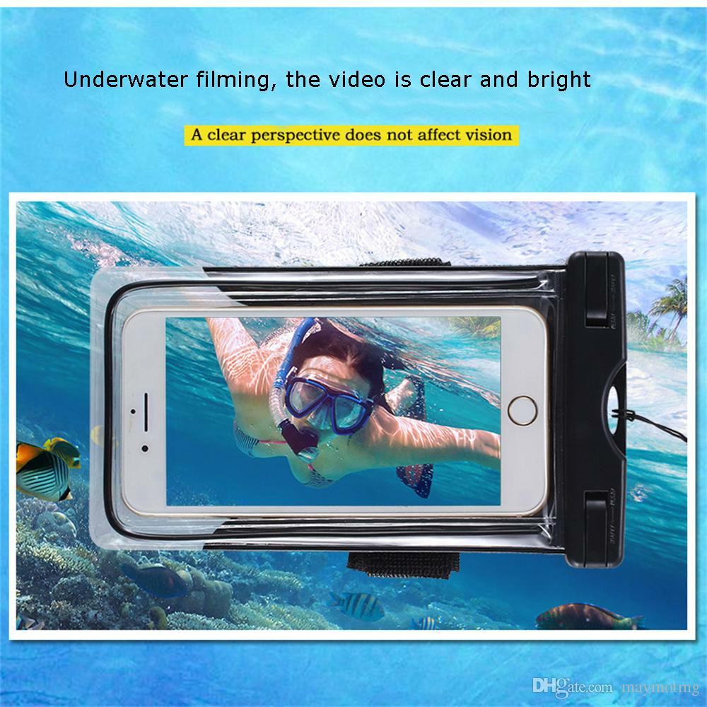 Universal Waterproof Mobile Phone Bag 6'' Case Clear PVC Sealed Underwater Cell Smart Phone Dry Pouch Cover Swimming Diving