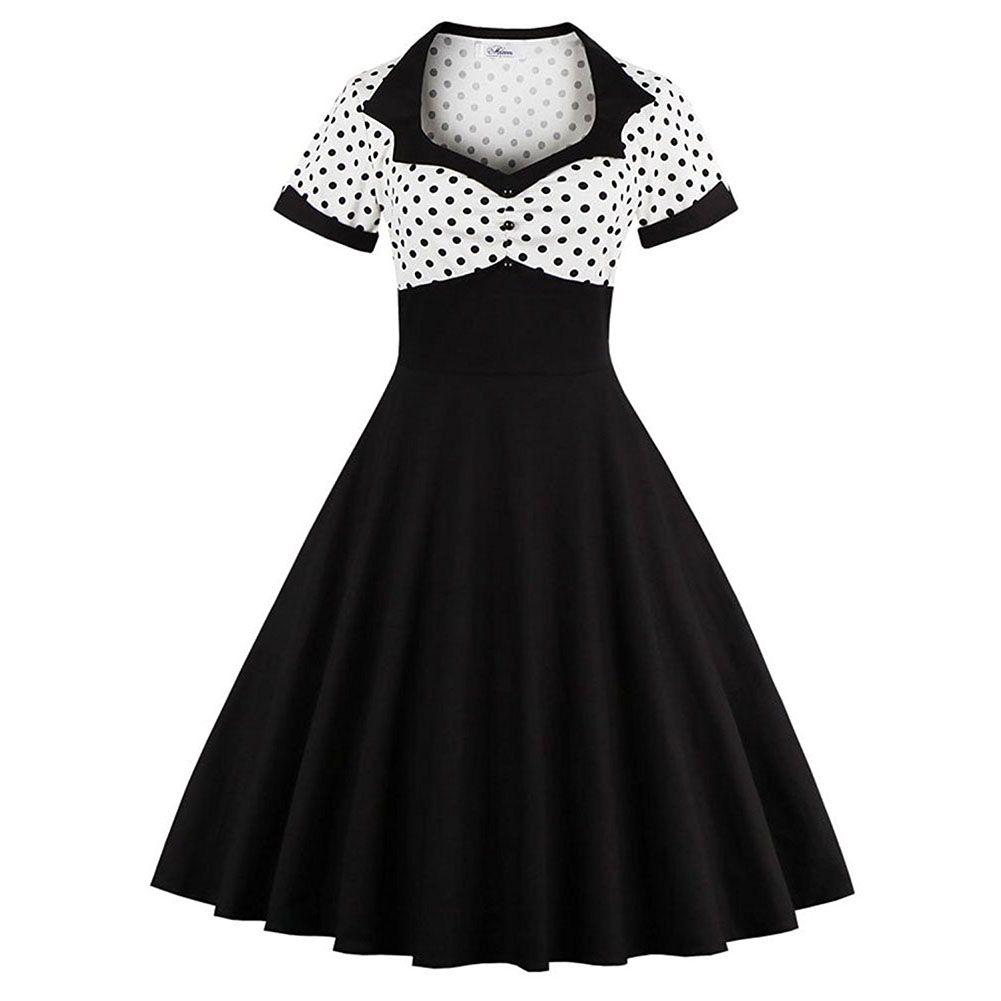 18fb497c7b63 2019 Plus Size S 4XL 50S 60S Retro Dress Cocktail Party Dress Women'S 1950s  Rockabilly Prom Dress Polka Dots Vintage Tea Dresses From Ladyjiao, ...