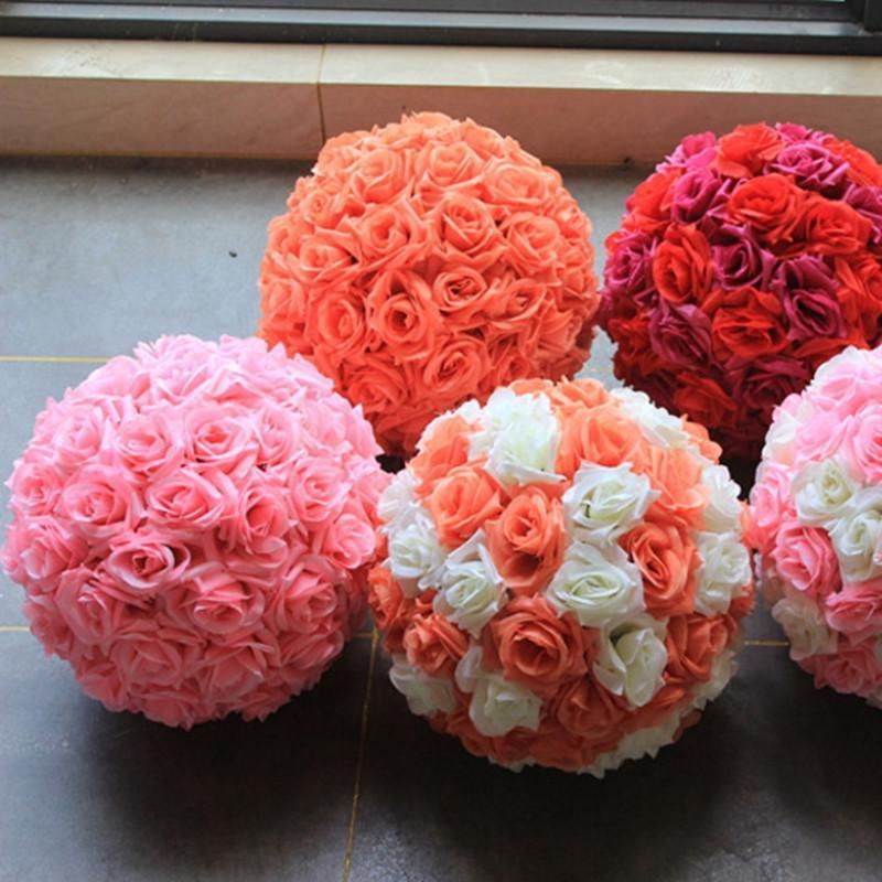 Grosshandel Hochzeit Blumen Ball Seide Ornamente Kissing Ball