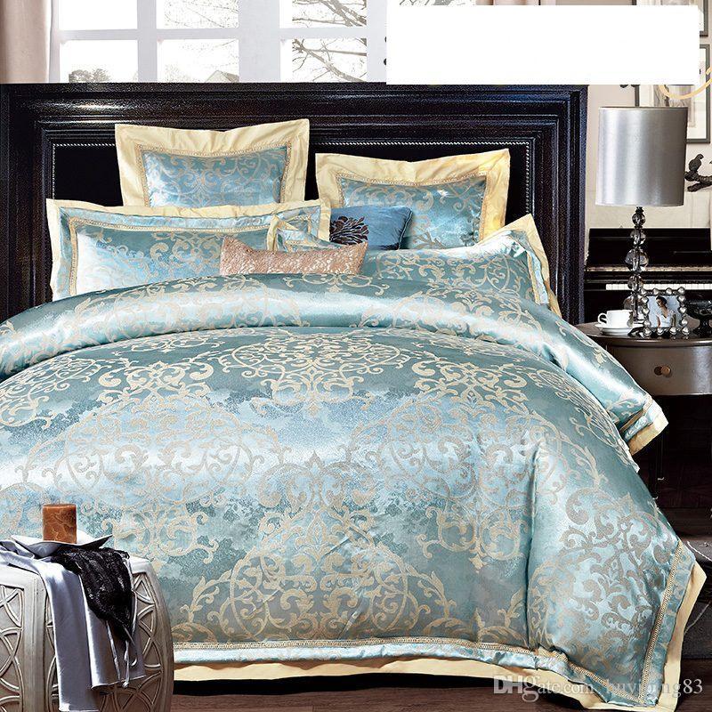 roupas de cama de algodão de seda verde roupa de cama lençol capa de edredão Europa jacquard define Queen / King Size cetim conjuntos de cama têxtil-lar