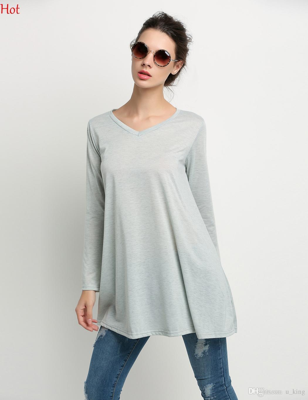Vestidos 2016 Women Clothing Hot Long Sleeve T-shirt Dress Ladies Casual  Solid V Neck Loose Dresses Grey Spring Autumn Mini Dress SV027378 Cotton  Dress ... 85167872fd58