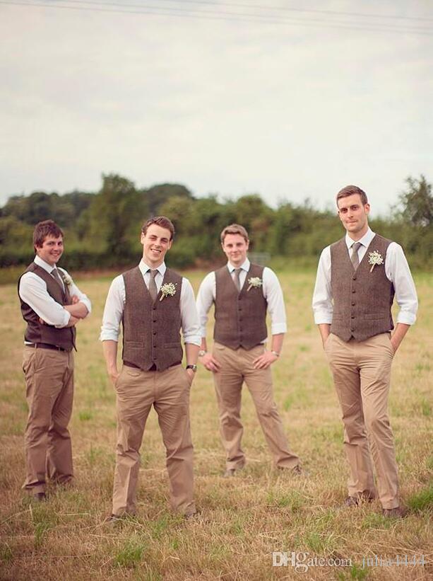 2019 Vintage Colheita de tweed Brown Coletes de Lã Espinha de Peixe estilo Britânico custom made terno dos homens alfaiate slim fit Blazer ternos de casamento para homens
