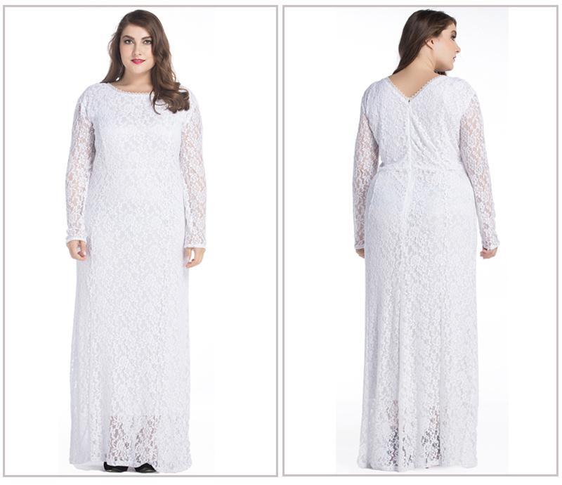 Элегантный Большой Размер С Длинным Рукавом Выдалбливают Кружева Dress Женская Мода Плюс Размер Платья Макси 2017 Новый Летний Party Clothing Большие Женщины