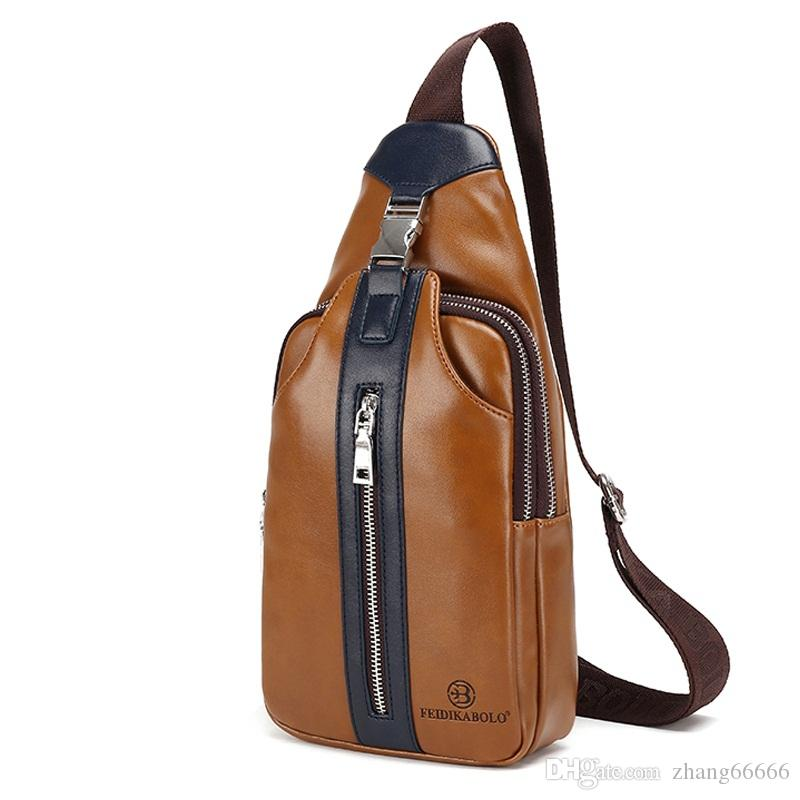 cff20553c Famous Brand Bag Men Chest Pack Leather Travel Men Crossbody Bags ...