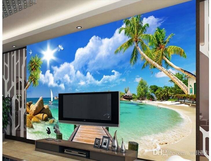Papel tapiz 3d Foto personalizada Pared no tejida Ocean Beach Puente de madera decoración de la habitación pintura imagen 3d muals papel de pared para paredes 3 d
