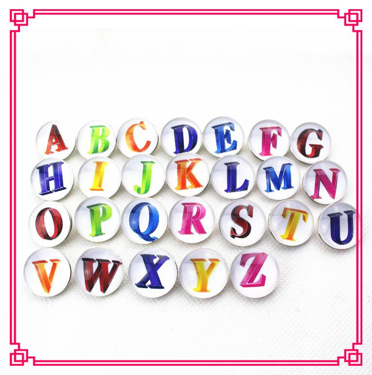Vendita calda 26 pz / lotto Mix A-Z lettere bottoni automatici DIY 18mm Snap Necklace BraceletBangles DIY Snap Charms gioielli