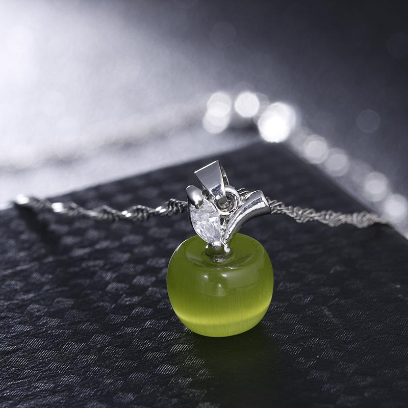 Nuevo lindo cristal y blanco opal rosa y verde claro collar colgante de manzana para las mujeres y las niñas de moda joyería de forma de manzana