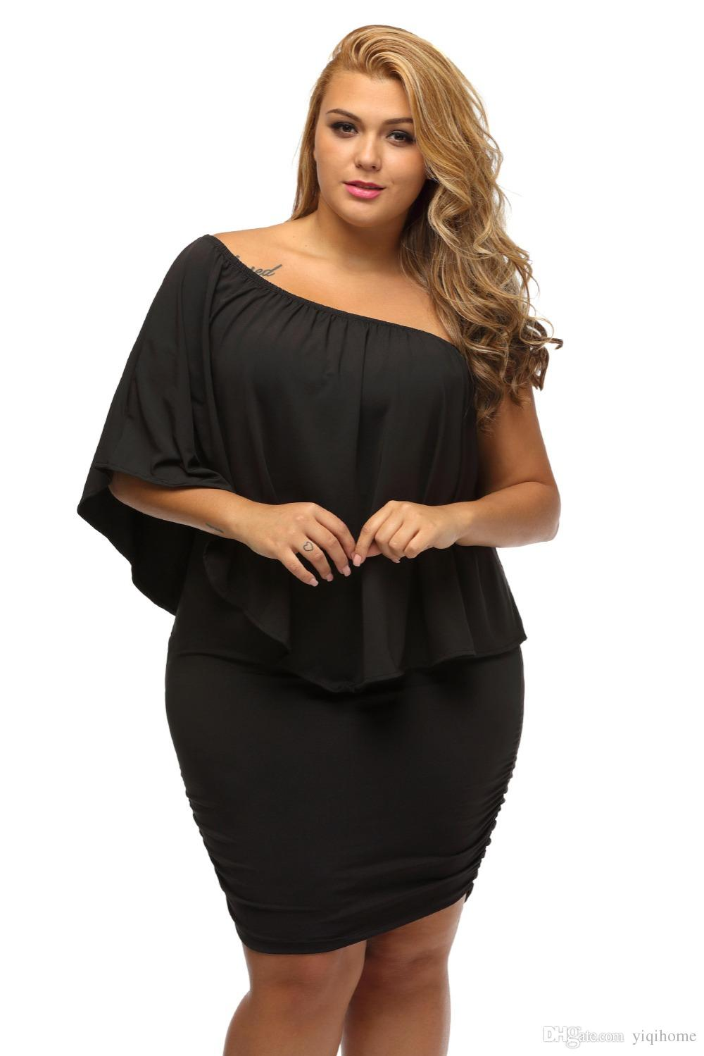 55c19d0b23c Off Shoulder Dresses Plus Size Multiple Dressing Layered Sexy Black Mini  Dress Vestido Casual Big Women Clothes Evening Cocktail Dress Dresses For A  Party ...