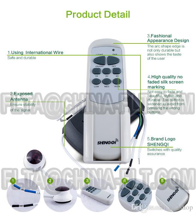 Ceiling Fan light remote control switch 110V 220V AC IR with 3 speed and 3 timer control