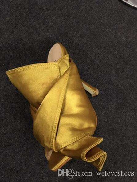2017 nouvelles femmes d'arrivée hauts talons Bowtie sandales glissent sur des sandales gladiator couleur jaune chaussures sexy partie slides mince talon
