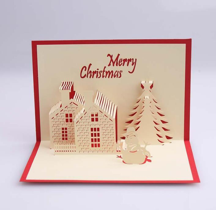 Christmas Pop Up Cards.3d Greeting Cards Christmas Handmade Kirigami Origami Creative Merry Christmas Pop Up Invitations Greeting Cards Tree Paper Festival Gifts Greeting