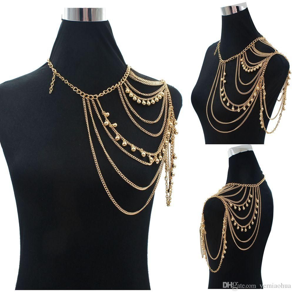 Bohemian Style Punk Body Colliers Collier En alliage Collier ShouldeChain Long Colliers Pendentifs Femmes Sexy Déclaration Body Jewelry