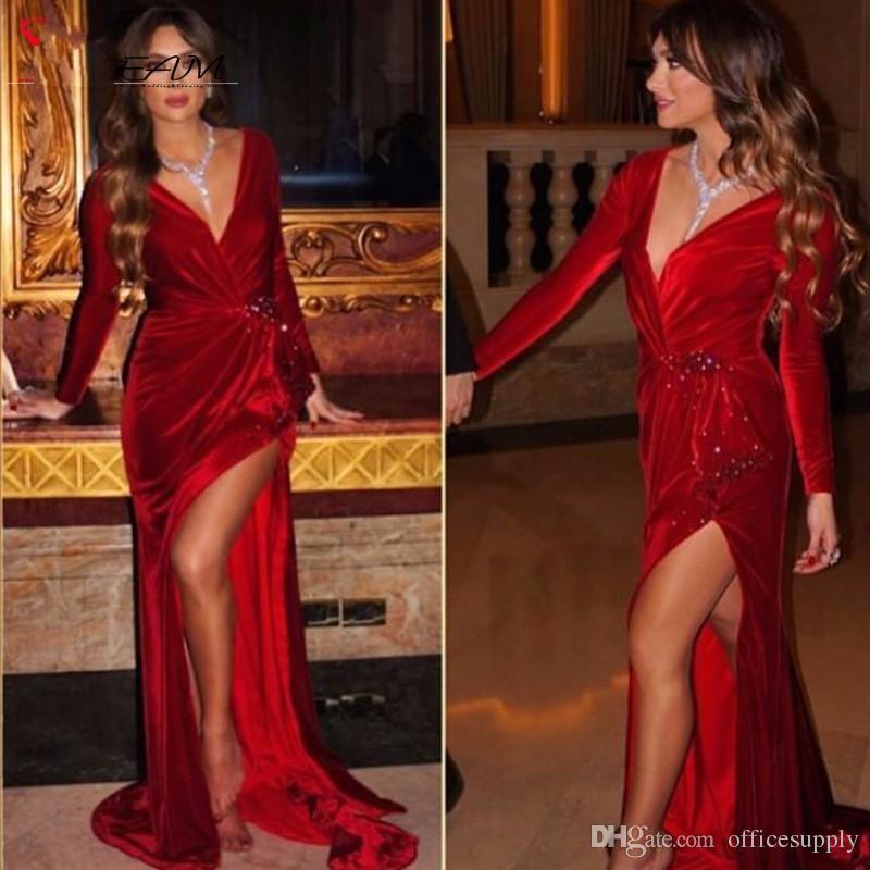2019 Sexy Jennifer Lopez Robes De Célébrités Sirène Rouge Profond Col En V Manches Longues Velours Arabe Soirée De Soirée Robes Formelles