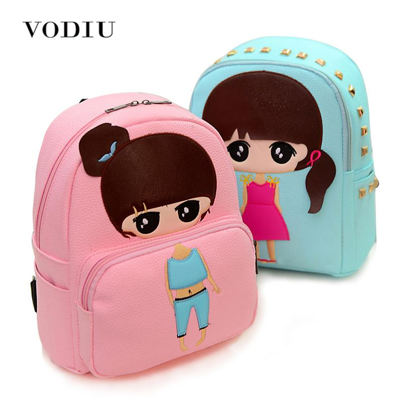 0166448cc4e0 High Quality Pu Leather Children Girls Mini Bag Cute Printing Anime Rivet  Zipper 2017 Waterproof Dora Small Backpacks Mochila Overnight Bags Kids  School ...