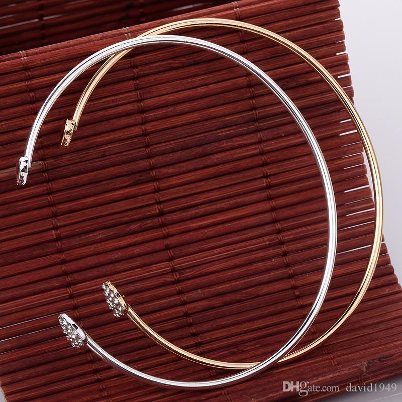Crystal Heart Bracelet for Women Gold Silver Heart Charms Bracelet Adjustable Opening Bracelets Fashion Bangles Jewelry
