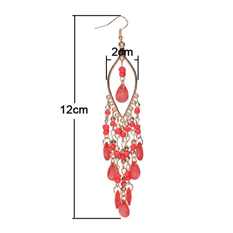 Pendientes promoción venta directa mujeres Brincos Sterling Jewelry Nueva llegada pavo real forma Long Tassel Drop Earrings