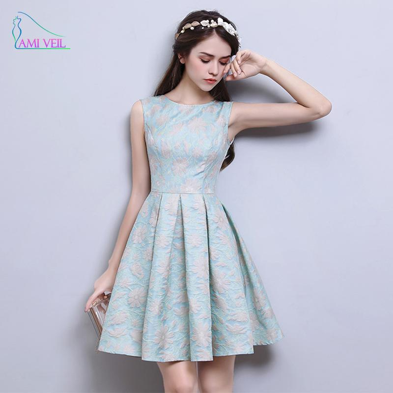 2017 Blue Printing Flower Short Prom Dresses Robes De Soiree Party ...