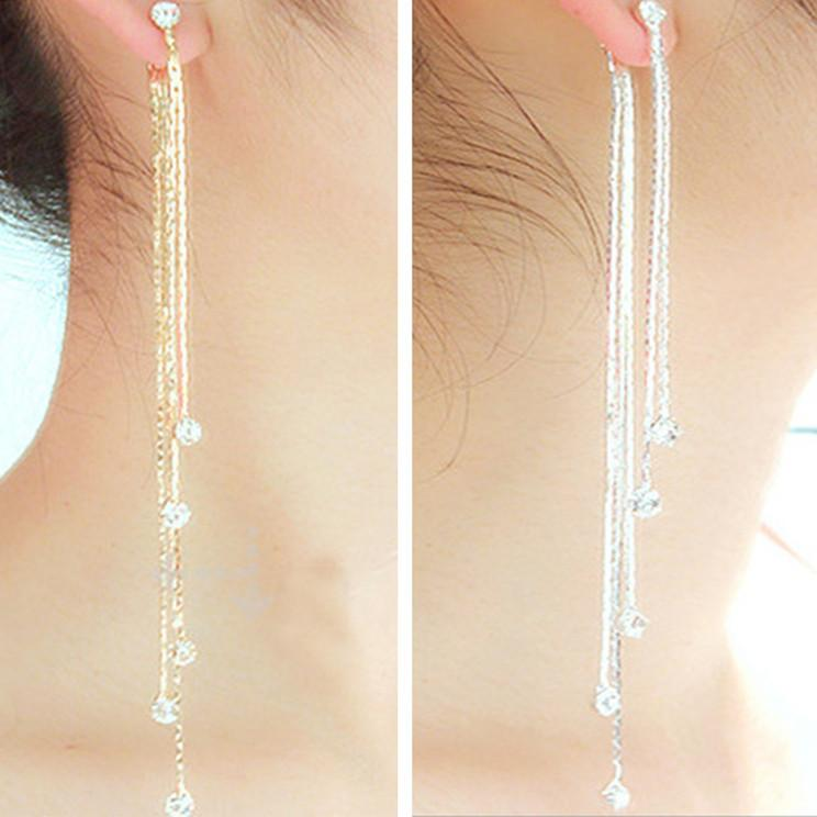 2018 New Fashion 5 Chain Gold Silver Long Tassel Earrings For ...