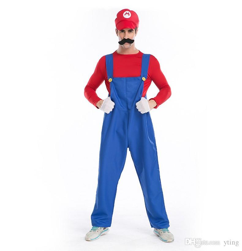 Compre Disfraces De Halloween Disfraces De Halloween Hombres Súper Mario  Luigi Hermanos Plomero Traje Jumpsuit Fancy Cosplay Ropa Para Hombres  Adultos A ... 4bb39eaf9e57
