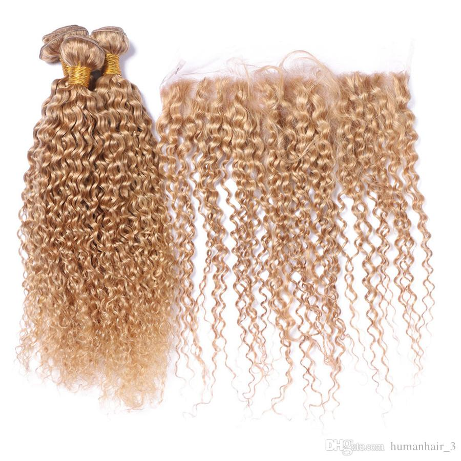 Strawberry Blonde Deep Curly Hair Weaves And Lace Frontal Closure Kinky Curly Hair Bundles With Lace Frontals 27# Blonde