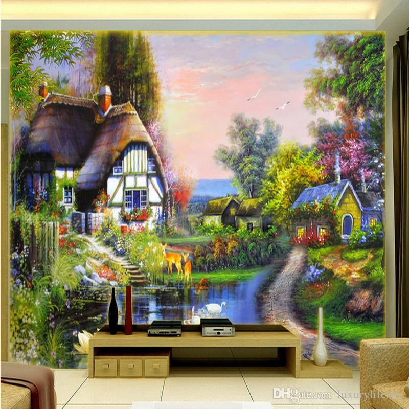 3d stereo custom aesthetic garden landscape oil painting for Ash wallpaper mural