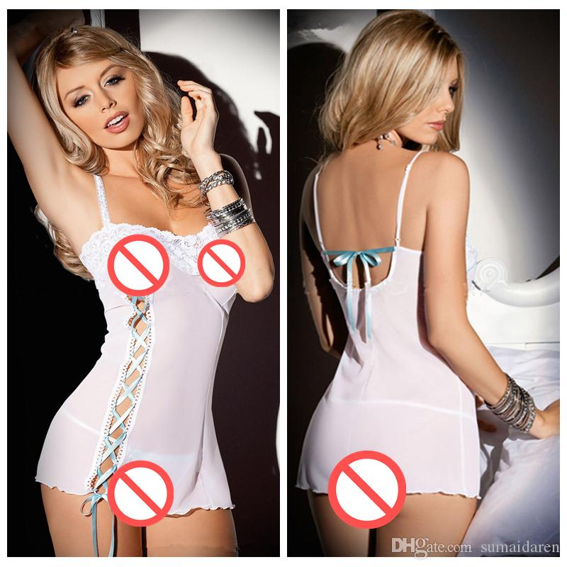 81934e43d50 Sexy Lingerie Women Full Slips Lace Straps Nightgown Exotic Apparel Baby  Dolls Sexy Costumes Sleepwear Pajamas Underwear Panties And Bra Sexy Pajama  Sets ...