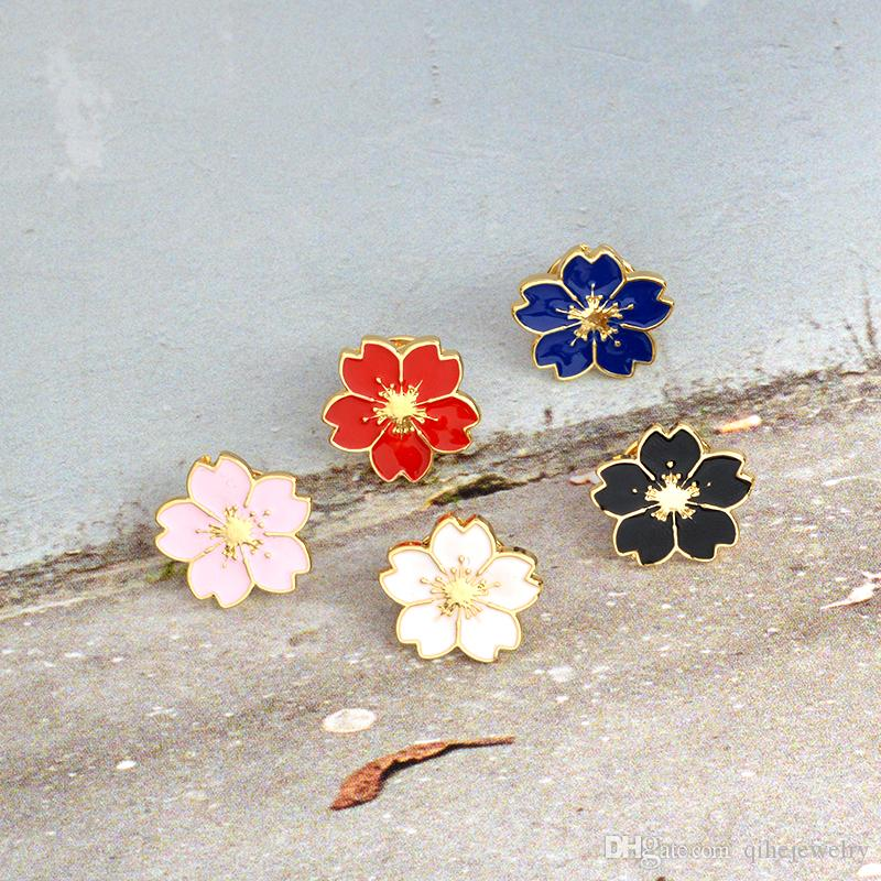 Tiny Colorful Flower Badge Brooch Pins Lapel pin Flower Jewelry Cloth Collar Hat Bag Accessories Decoration