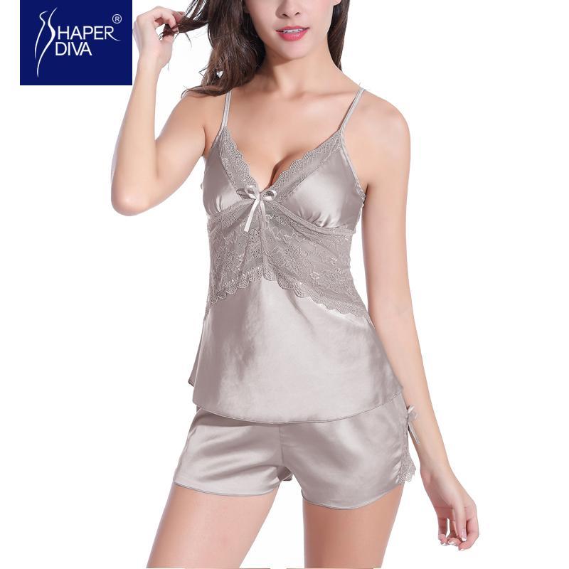 Burvogue Nightwear Ladies Lace Pajamas Sets Sleepwear Sexy Baby Dolls Lace Babydoll Lingerie Women Sleepwear Silk Pajamas Sets