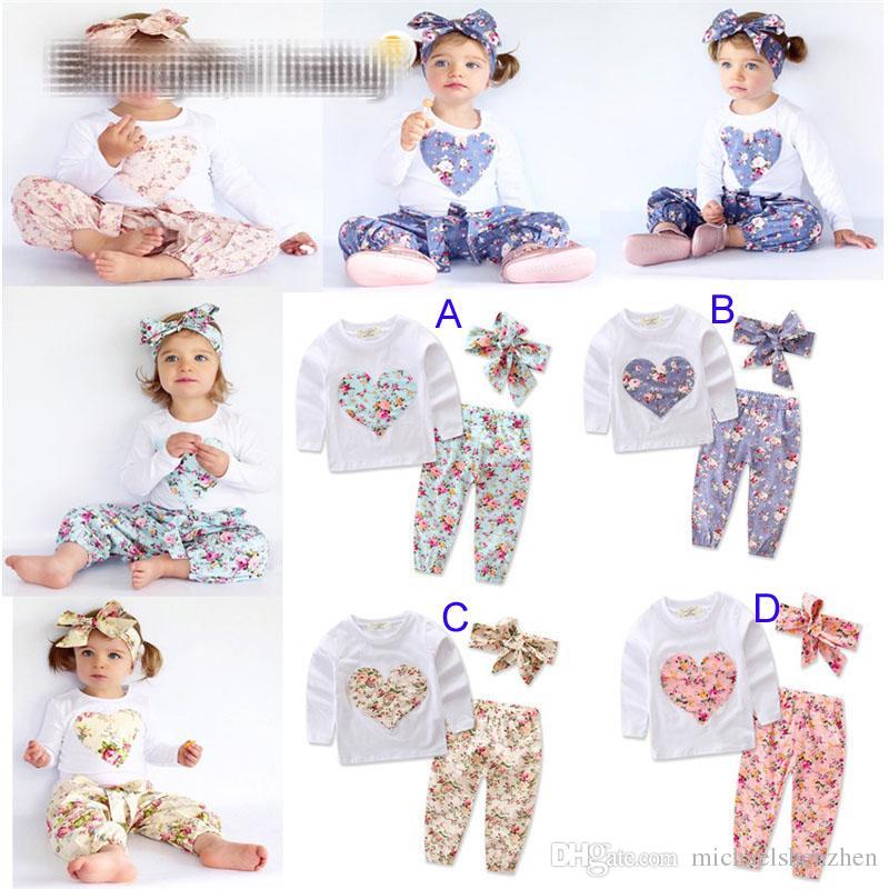 Baby girl INS em forma de coração flor Ternos Crianças Criança Infantil Casual Curto de manga comprida T-shirt + calças + faixa de Cabelo conjuntos pijama roupas B