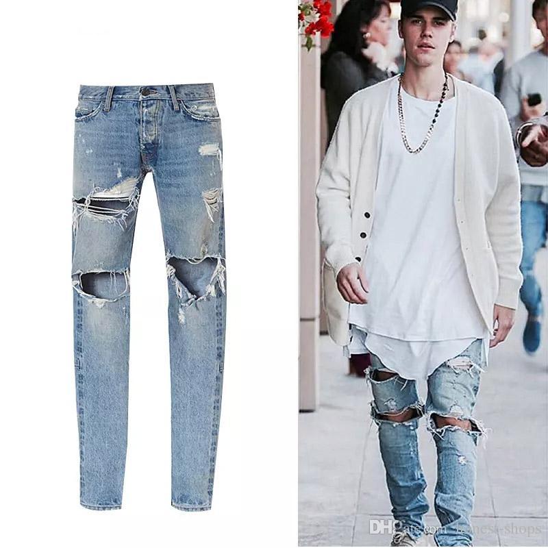 2019 Men Justin Bieber Fear Of God Jeans Best Version FOG Jeans Selvedge  Zipper Destroyed Tour Pants Skinny Blue Jean God Of Fear From Honest Shops 8eb7515bca25