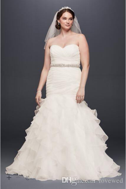 2017 Plus Size Organza Mermaid Wedding Dresses Sweetheart Necline With Pleats Detail And Tiered Ruffles Skirt 9wg3832 Bridal Gowns Maternity