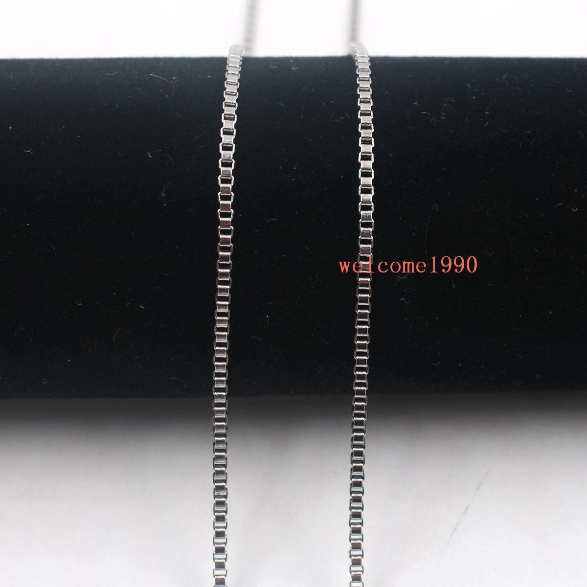 / Venta caliente de la joyería Venta al por mayor en plata a granel Collar de cadena de caja de moda de acero inoxidable 2 mm / 2.4 mm de ancho