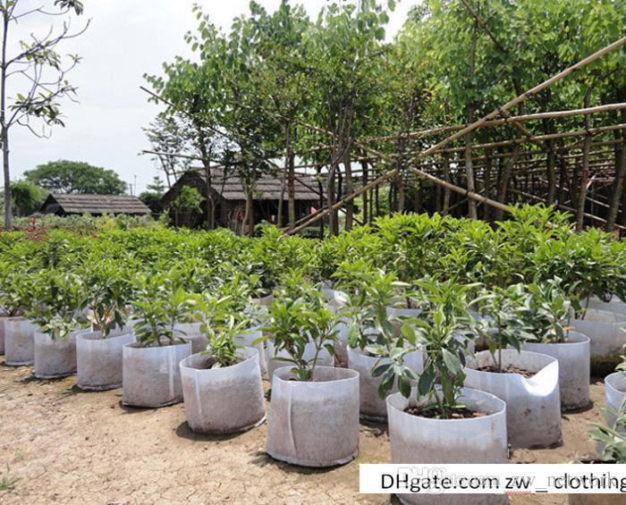 Оптовые садовые сумки для цветов растения горшки нетканое полотно краткая прастическая многоразовые растут горшки посадка мешок с ручками