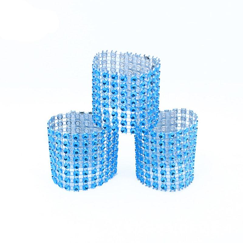 Wholesale- Wholesale 100Pcs/Lot Blue Color Plastic Rhinestone Wrap Napkin Ring Napkins Buckle Hotel Home Wedding Supplies Chair Decoration