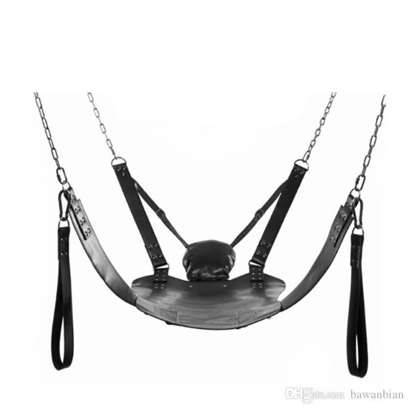 Pelle Sex Love Swing Nero Fetish Heavy Adult Swing Sling Restraints D Anelli Swing Chair Sex Furnitures