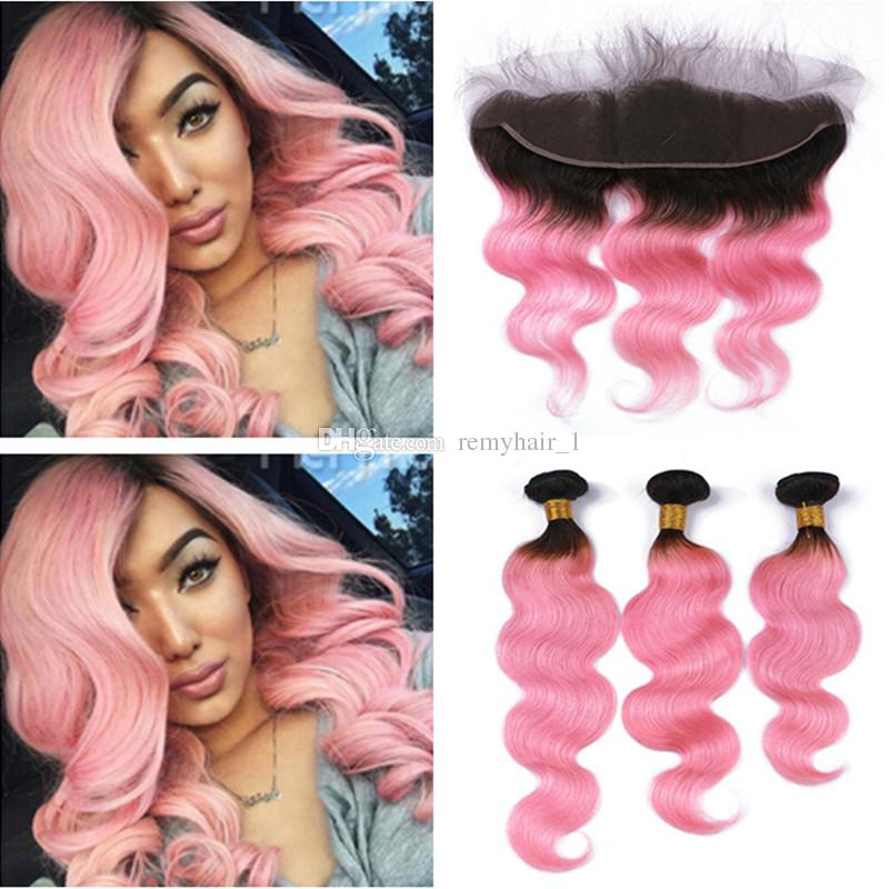 Dark Root 1bpink Ombre Body Wave Virgin Malaysian Human Hair Weave