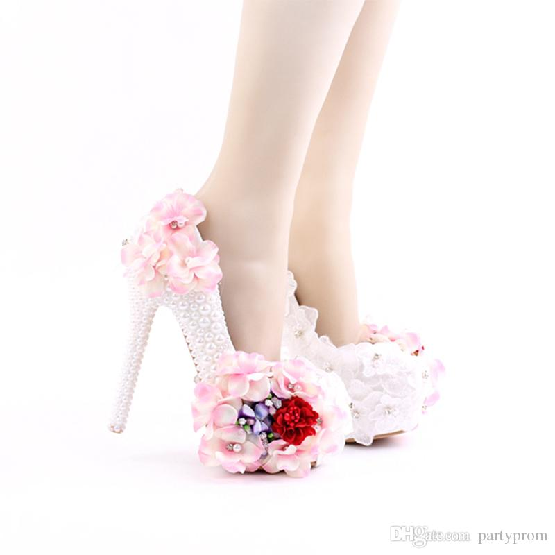 d5ca437df17 2017 Beautiful Lace Pink Flower Bridal Wedding Shoes White Imitation Pearl  Party Prom High-Heel Nightclub Stiletto Banquet Platform
