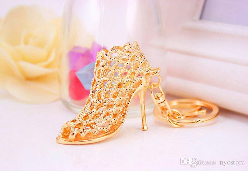 DHL الإبداعية الهدايا الكعب العالي موضة الحلي الذهبية سلاسل مفتاح الفضية الشعبية حلقة مفتاح السيارة الأحذية ذات الكعب العالي فريدة كيرينغ