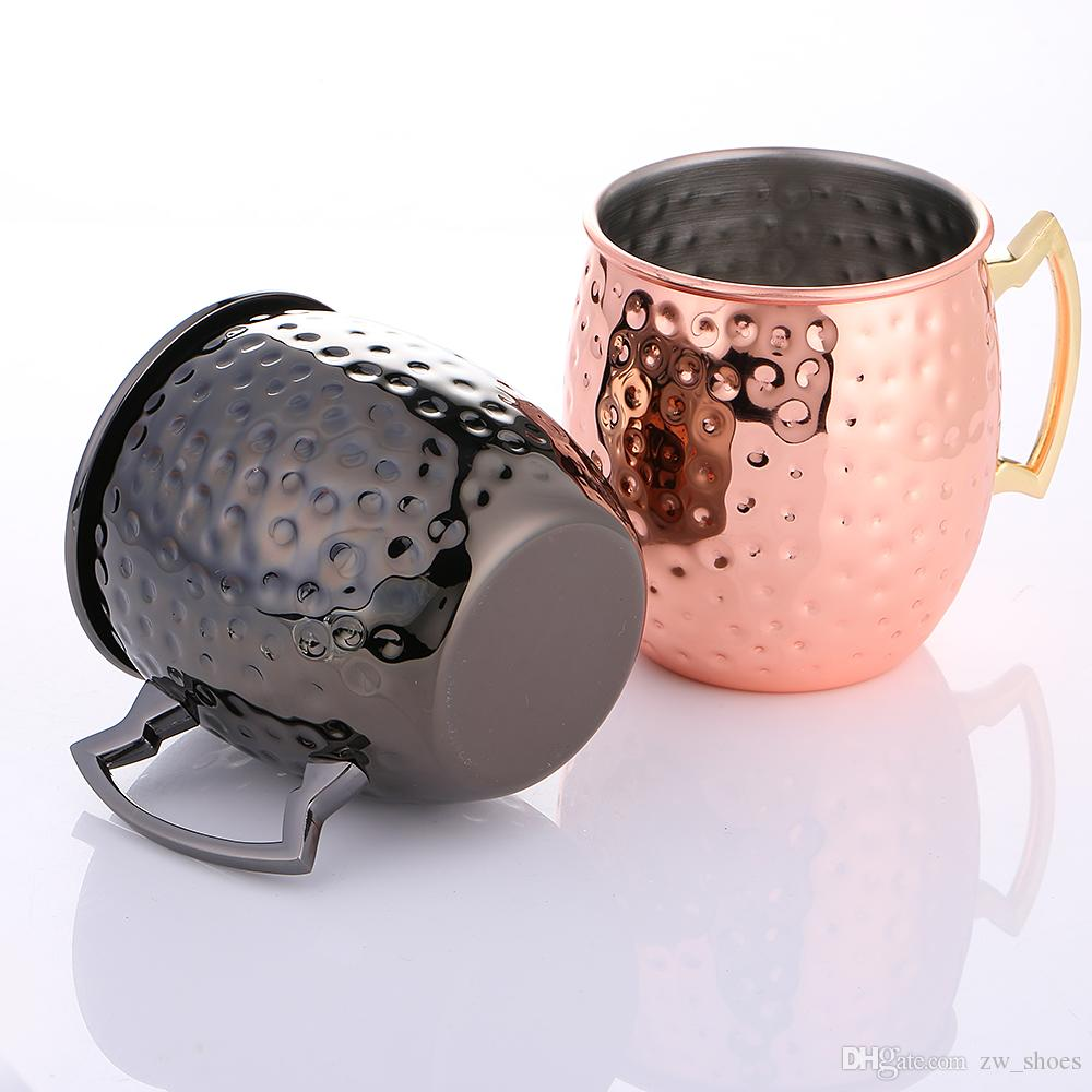 GOLD UND SCHWARZer Edelstahl gehämmerter Moskau-Maultier-Becher 16OZ Elegantes Kupfer überzogene Cocktail-Kaffeetasse-Bier-Milch-Tee-Schale