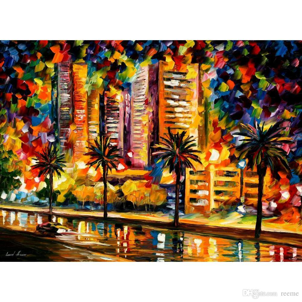 The Night Lights Of Miami Hand Painted Palette Knife Oil Painting - Painting miami