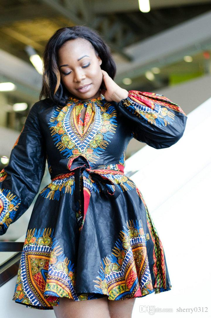 2017 Elegant African Print Dashiki Dress Womens Casual Long Sleeves ...