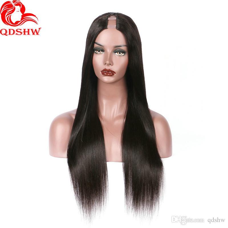 Cabello humano U Parte pelucas para las mujeres Negro recto brasileño de la Virgen Upart peluca Medio Parte Pre desplumados sin cola T humana Parte de pelucas de pelo