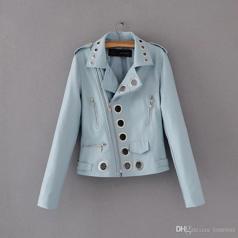 Ladies Motorcycle PU Leather Jackets Women Faux Leather Coats Long Sleeve Zipper Spring Autumn Overcoats New Fashion Black Blue Pink