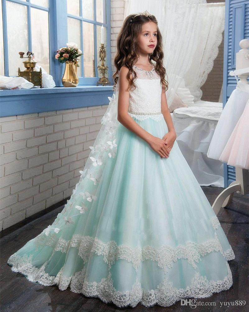 beautiful jewel applique sash net baby girl birthday party christmas princess dresses children girl party dresses flower girl dresses little girl dresses