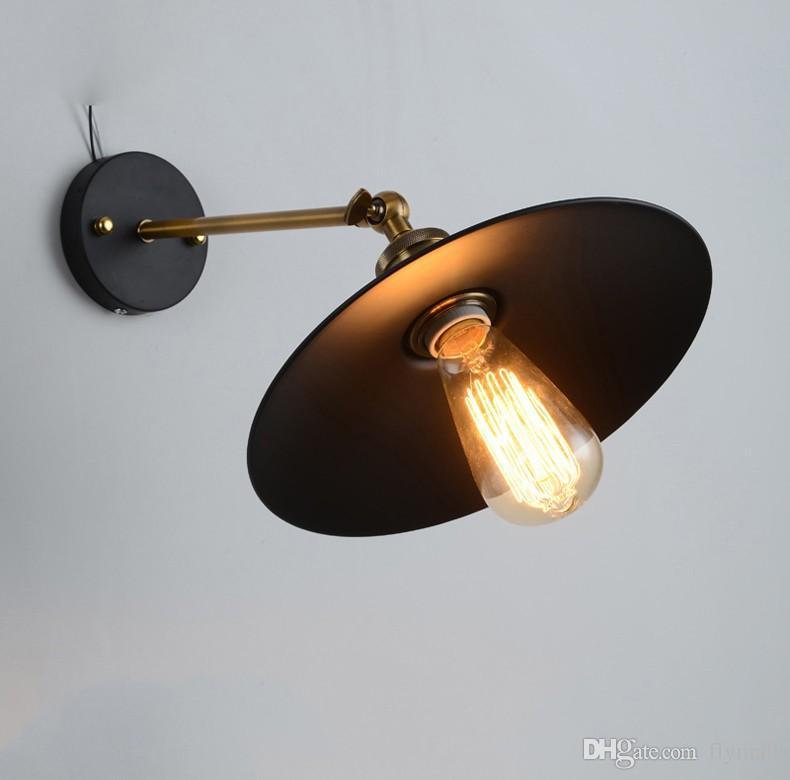 Vintage Plated Industrial Wall Lamp Retro RH Loft LED Wall Light Bar Coffee Stair Bathroom Iron Wall Sconce with E27 Edison Bulb