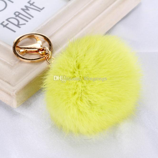 Hot fashionable high quality fluffy keychain cute ball simulation rabbit key chain for women Car Keyring Bag Earrings Accessories