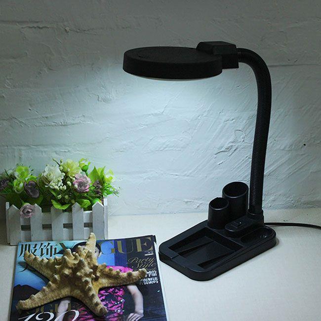 Lunga durata di vita Magnifying Crafts Lampada da tavolo in vetro Lampada da tavolo con lente d'ingrandimento 5X 10X con illuminazione a 40 LED LEG_300