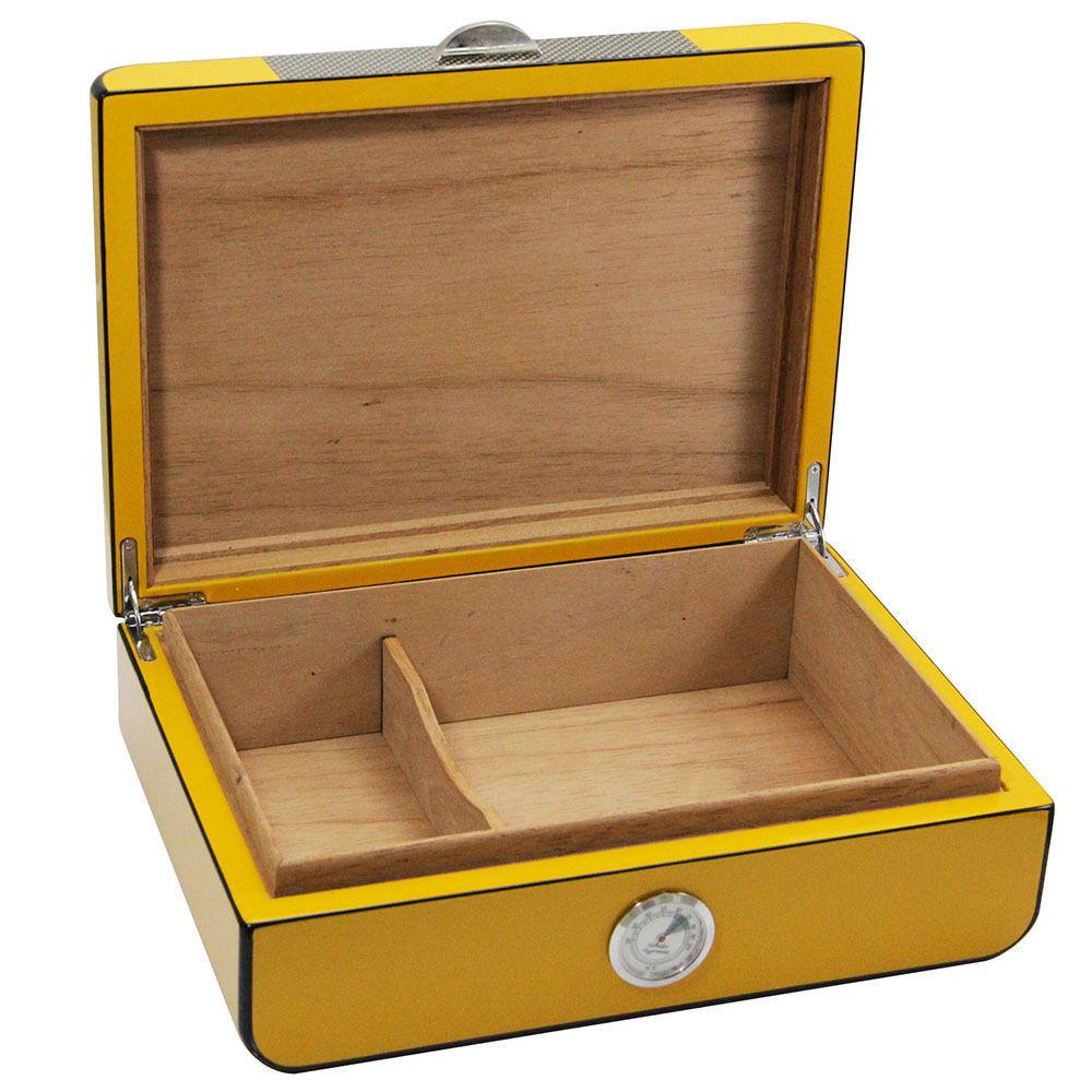 Yellow Cedar Wood Cigar Humidor with Cigar Hygrometer & Humidifier  Can  hold 20 -30 cigars Daily generalfree shipping