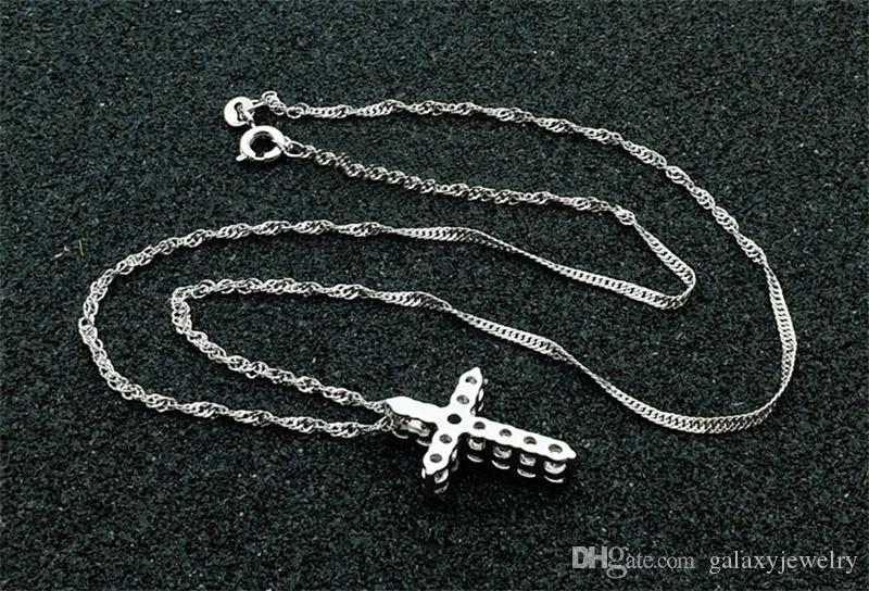 Yhamni Luxury Original Original 925 Sterling Silver Cross Pendant Collana Principessa Ciondolo collana di diamanti di lusso signore e donne N10