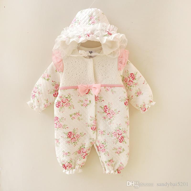 Baby Girls Lace Romper 2017 Winter New Kids Girl Floral Print Jumpsuit Newborn Bow One-piece Infant Birthday Gift Outfits Children Clothing